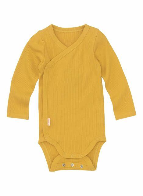 newborn-prematuur overslagromper bamboe stretch geel