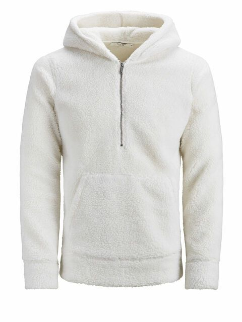 JACK & JONES Teddy Textuur Hoodie Heren White