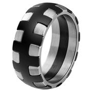 Edelstaal heren ring Stitches Black Silver-18mm
