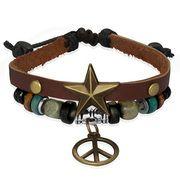 Leren Wrap armband Peace