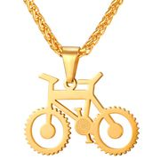 Heren ketting met hanger edelstaal Gold Bicycle