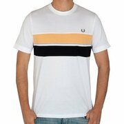 Fred Perry - Striped Chest Panel T-Shirt - Wit