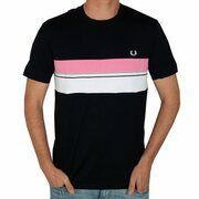 Fred Perry - Striped Chest Panel T-Shirt - Navy