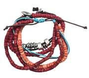 Armband combinatie met kralen rood, azur