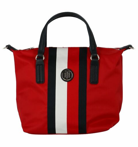 TOMMY HILFIGER, Dames Handtas 'Poppy', navy / rood / wit