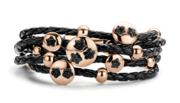 Zwart lederen new bling armband met stalen rosekleurige elementen 980101167