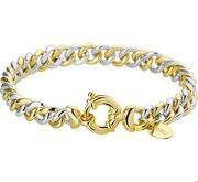 Zilgold Armband zilver/goud bicolor gourmetschakel 7 mm 5,2 gram 19,5 cm