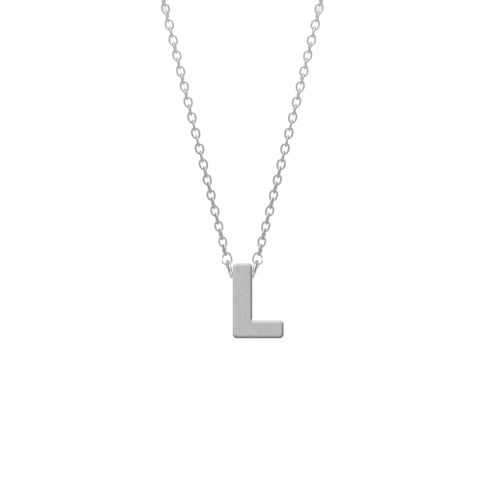 CO88 Collection 8CN-11011 - Stalen collier - letterhanger L 9 mm - lengte 42+5 cm - zilverkleurig