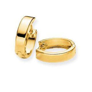 Gouden klapcreolen Glanzend Vierkante buis - 10 mm 207.0058.10