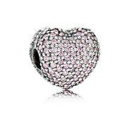 Pandora zilveren Clip-stopper 'Open my heart' Roze zikonia's 791427PCZ