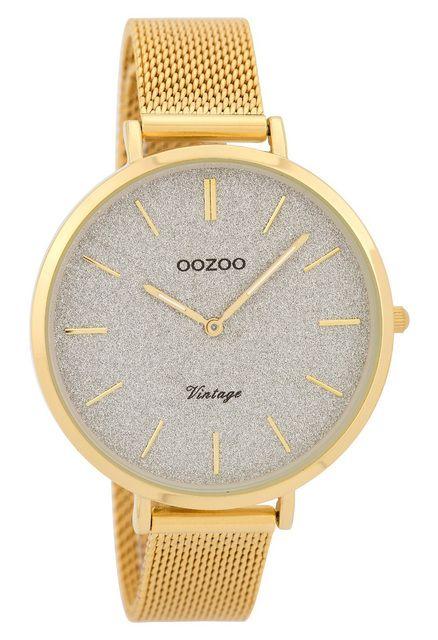 OOZOO Horloge Vintage Mesh goudkleurig-grijs 40 mm C9378
