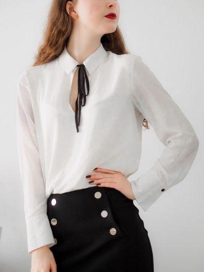 How to wear: Blouse met strik