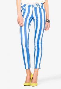Skinny Jeans met Verticale Strepen