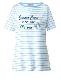 Shirt met strepen Janet & Joyce turquoise/wit
