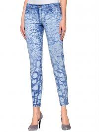 Skinny jeans met rubberprint Alba Moda Green blue