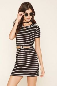 Stripe Cutout-Front Dress
