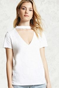 Raw-Cut Choker Neck Tee