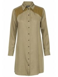 Gsus Tencel shirt dress army groen