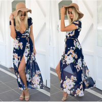 Maxidress blue floral
