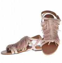 sandalen fringes beige met steentjes