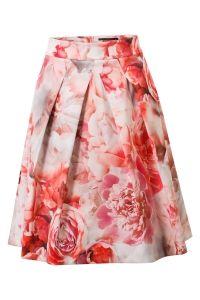 Feestelijke rok met bloemenprint Rood Steps