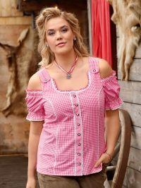 Geruite blouse Janet & Joyce framboos geruit