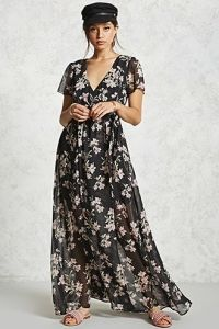 Cap Sleeve Floral Wrap Maxi Dress