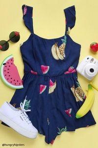 Fruit Print Flounce Romper