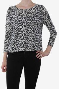 Jacqueline de Yong witte cropped top met zwarte panterprint Leah