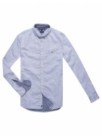 Tommy Hilfiger Overhemd button down denim look light blue blauw