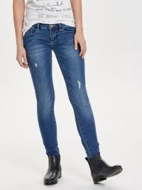 ONLY Coral Versleten Skinny Jeans Dames Blauw