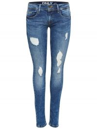 ONLY Coral Versleten Skinny Jeans Dames Blauw