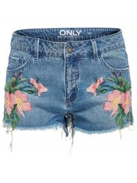 Only Carmen Embroidery Denim Shorts