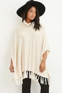 Tasseled Funnel Neck Poncho