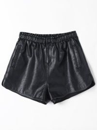 Ruffles High Waist PU Leather Shorts