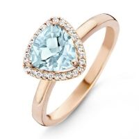 One More 18 Karaats Roségouden Etna Ring met Sky Blue Topaas en Diamant