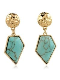 Faux Turquoise Irregular Geometric Earrings