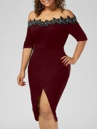 Plus Size Applique Trim Pencil Dress