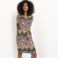 Bedrukte jurk met riem