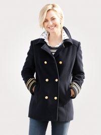 Wollen jas MONA marine/goudkleur