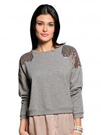 Sweatshirt Alba Moda Green grijs gemêleerd/roze