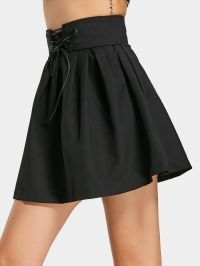 Ruffles Lace Up A Line Mini Skirt