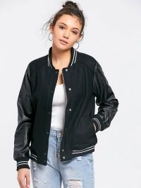 Faux Leather Panel Baseball Jacket