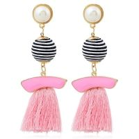 Tassel Striped Ball Drop Earrings