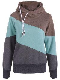 Casual Color Block Long Sleeves Hoodie For Women