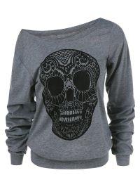 Skull Print Skew Collar Plus Size Sweatshirt
