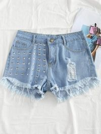 Rivet Ripped Frayed Hem Denim Shorts
