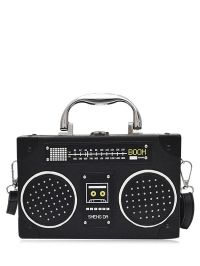 Radio Shaped Faux Leather Crossbody Bag