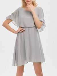 Ruffle Overlay Chiffon Cold Shoulder Dress
