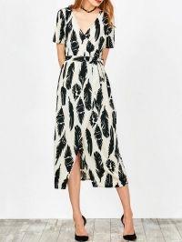 Feather Print Wrap Maxi Dress